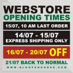 WEBSTORE OPENING TIMES