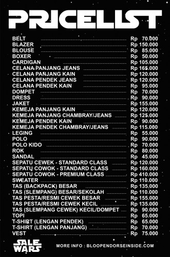 PRICE LIST SALE WARS