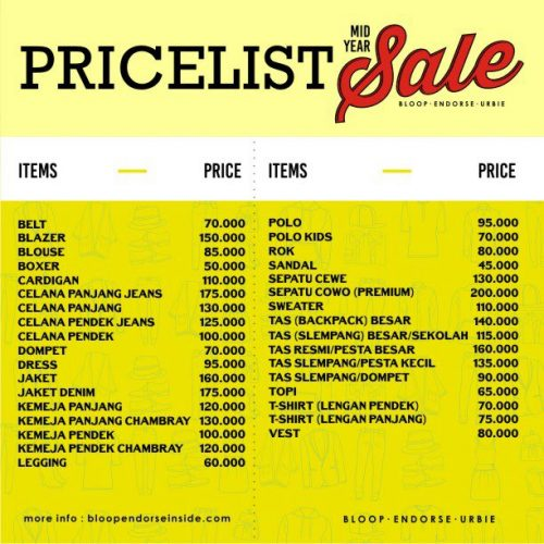price list mid year sale bloop endorse urbie 2016