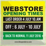 WEBSTORE OPENING TIMES!